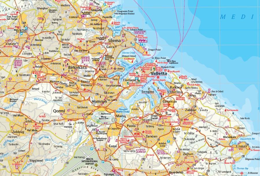 Malta Cartina Stradale.Malta Mappa Turistica