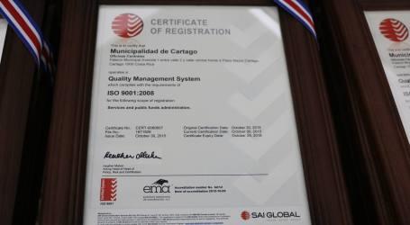 Municipalidad de Cartago obtiene certificación ISO 9001