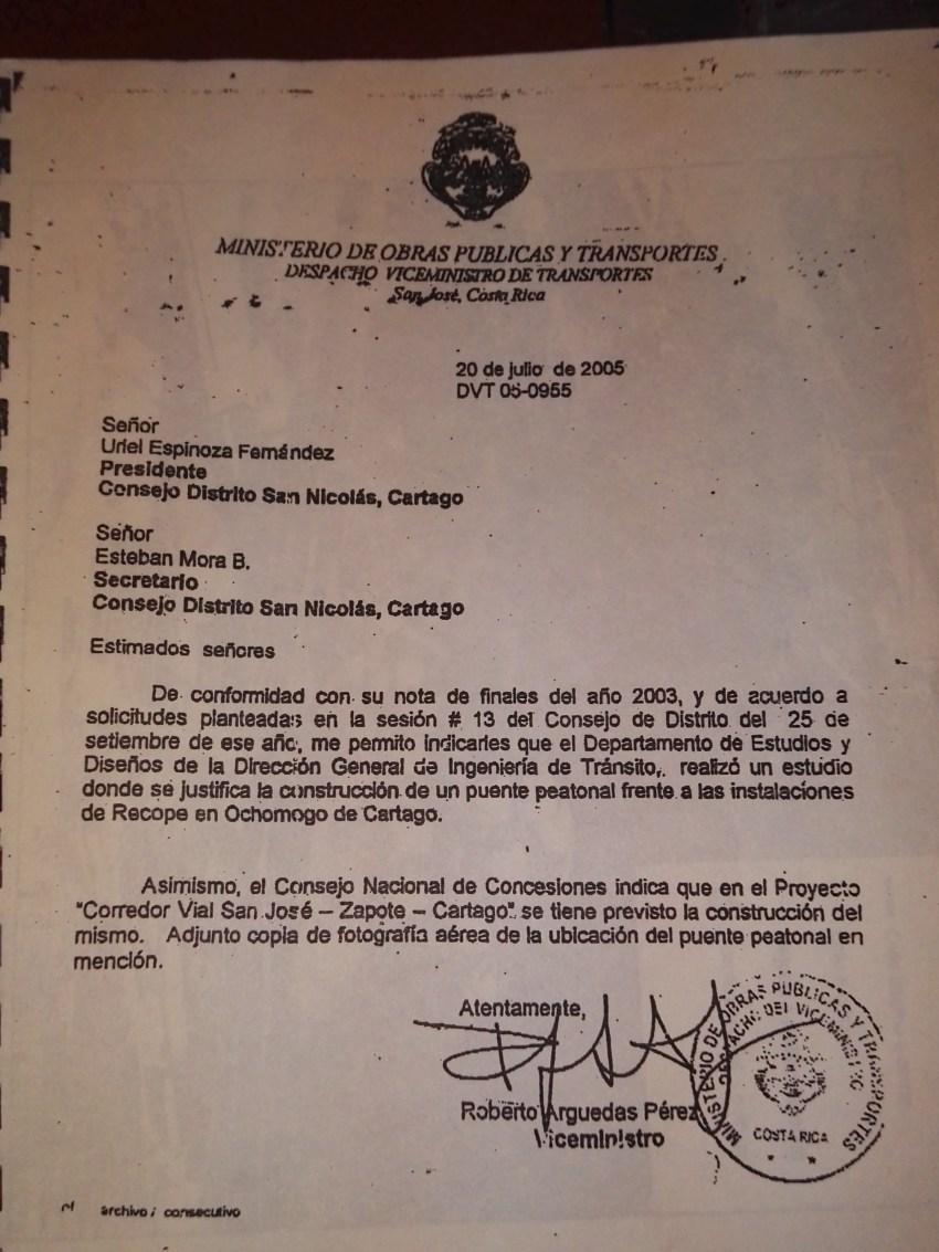 Oficio del 2005.