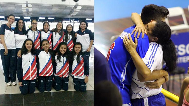 (Izq) Marta Loría con el equipo mini de los ángeles que fue a CODICADER Honduras el año pasado. (Der) junto a su hijo que es seleccionado nacional de voleibol.