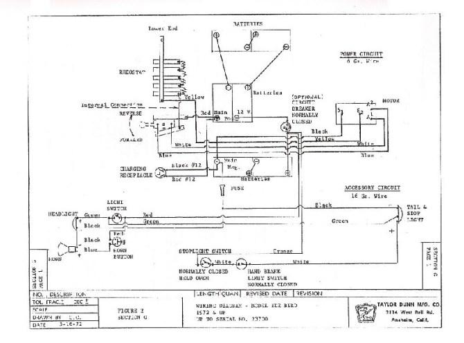 taylor dunn tee bird wiring diagram  cartaholics golf cart