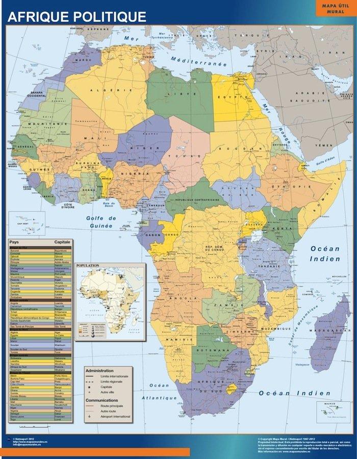 carte afrique politique plastifiee