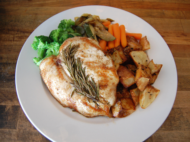 grilled chicken breast rosemary potatoes carrots broccoli dinner entree