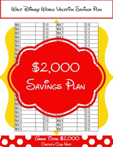 $2,000 Walt Disney World Savings Plan Printable