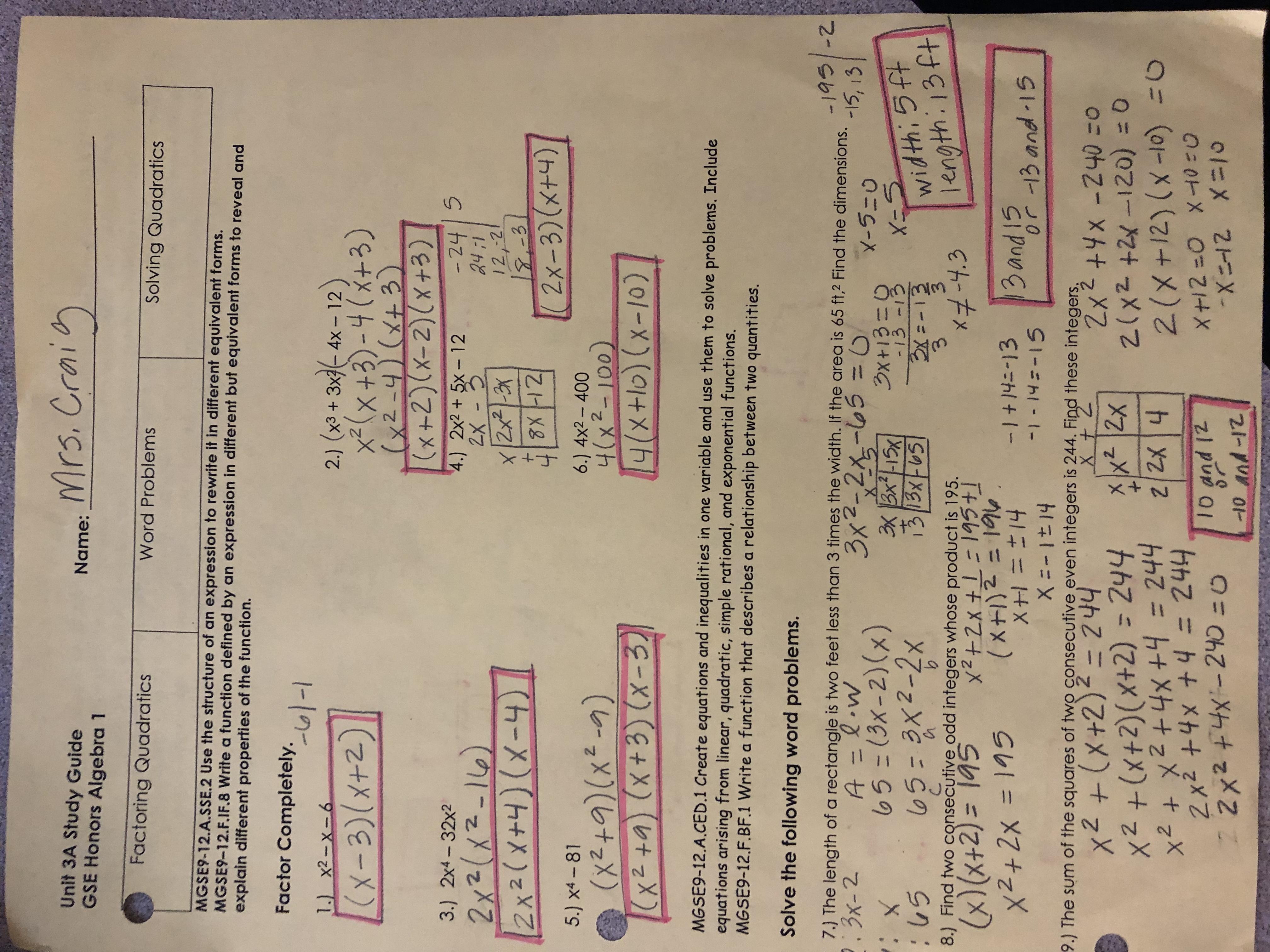 Unit 4 Solving Quadratic Equations Homework 10 Answers