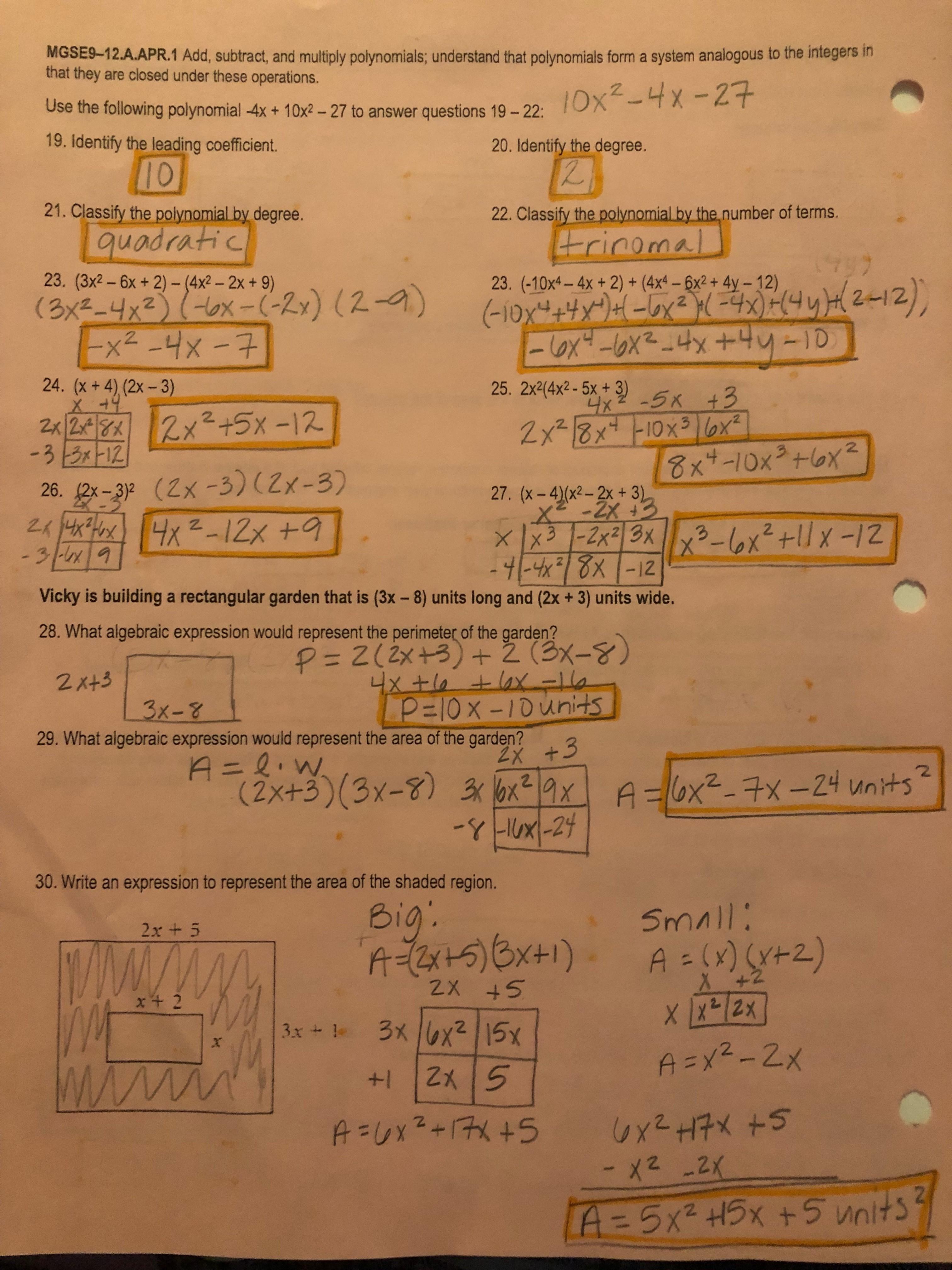 Unit 4 Linear Equations Quiz 1 Answer Key