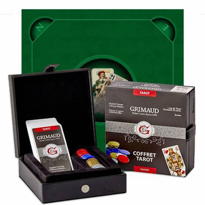 pack cadeau tarot expert les 3 bouts vert un coffret avec 78 cartes 60 jetons plastique 1 tapis de jeu