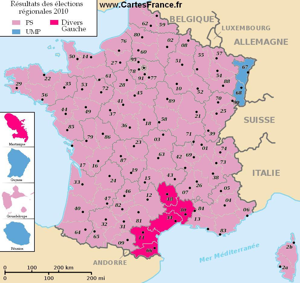 Carte elections regionales 2010