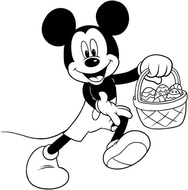 Coloriage de Mickey avec les oeufs de Paques