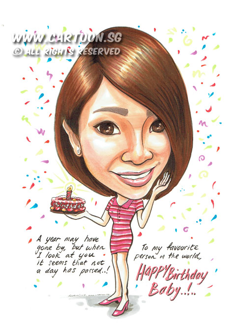 CartoonSG Singapore Caricature Artists For Gifts Amp EventsA Birthday Gift For A Sweet Girl In
