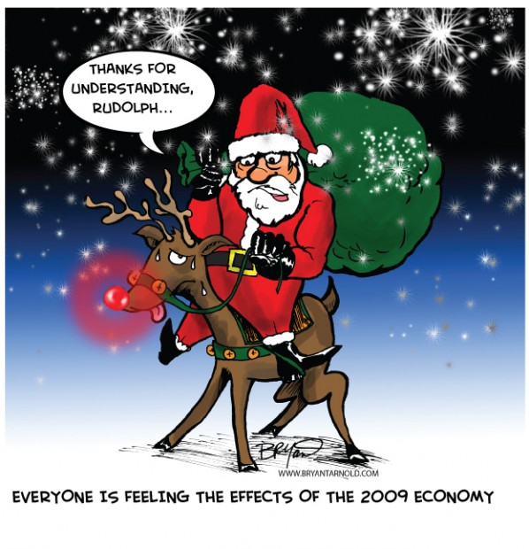 Santas Holiday Cutbacks Riding Rudolph Cartoon