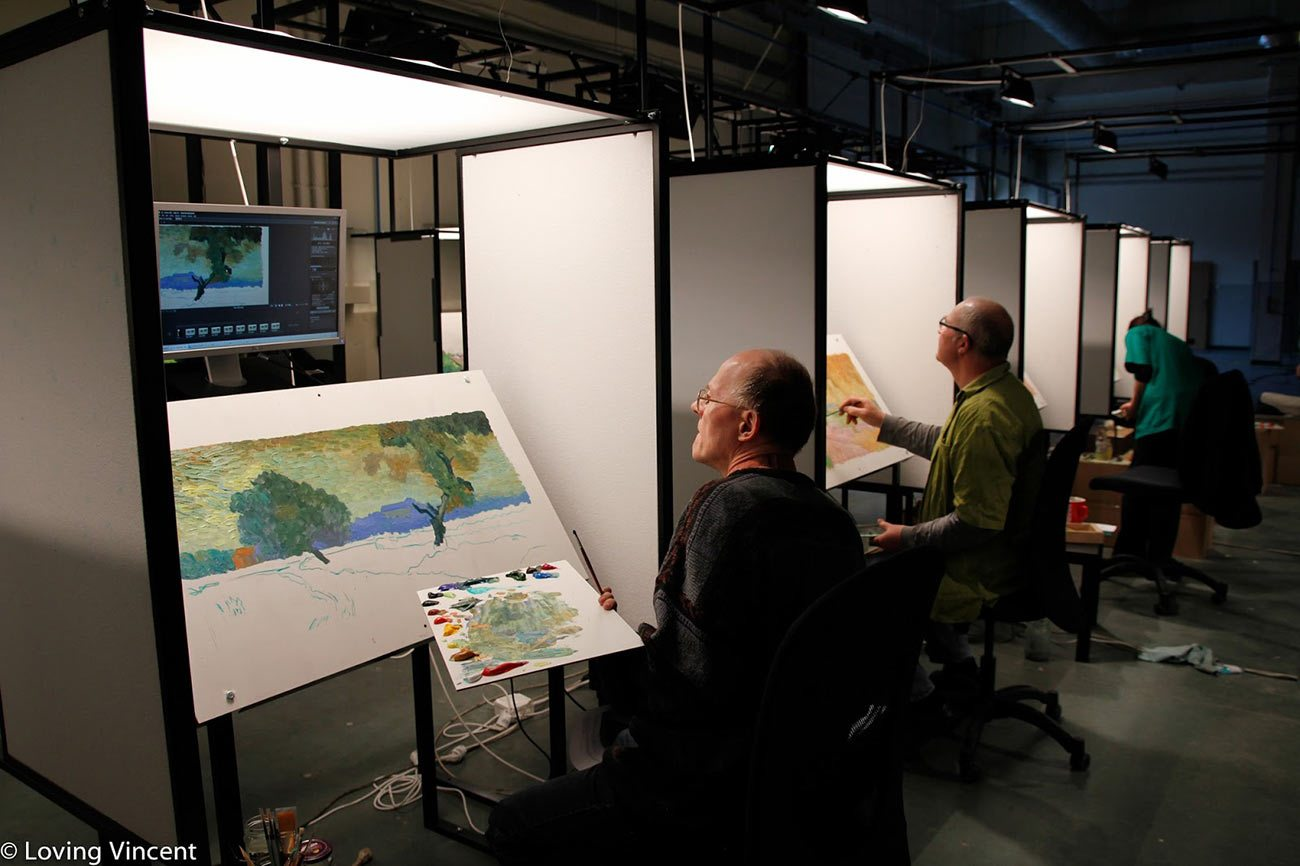 """Painters training to work on """"Loving Vincent."""""""