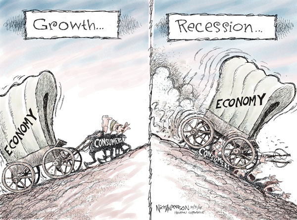 The fallacy of 'growth'  |  Cartoonist Nick Anderson; source & courtesy - cartoonistgroup.com  |  Click for image.