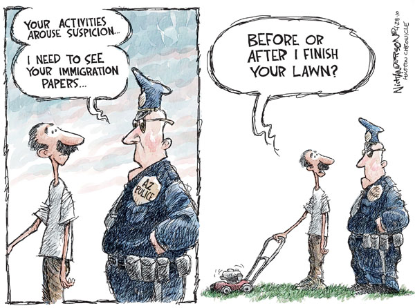 Extra Police and excess laws create criminial behaviour. (Cartoon by Nick Anderson. Courtesy - The Cartoonist Group.). Click for larger image.