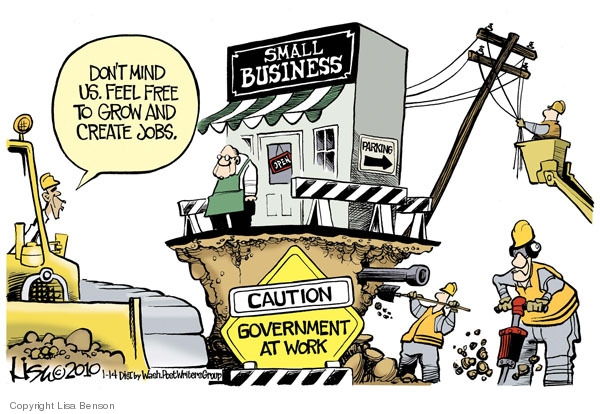 The eco-system of small business  |  Cartoonist - Lisa Benson; source & courtesy - cartoonistgroup.com  |  Click for image.