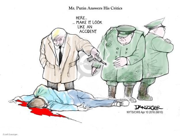 Image result for putin deals with criticism cartoon make it look like and accident