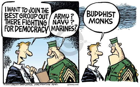 More than 2000 years ago, Buddha and Indian kings sent Buddhist monks to help local rulers implement Bharattantra - then known as Dharma. | Cartoonist: Mike Peters Pub. Date: 2007-10-11; source and courtesy - cartoonistgroup.com | Click for source image.