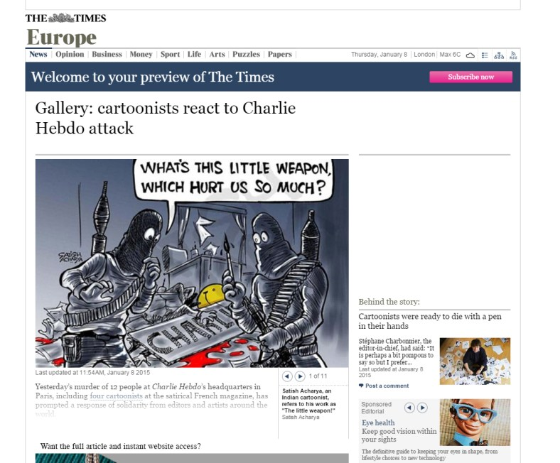 Charlie Hebdo on The Times