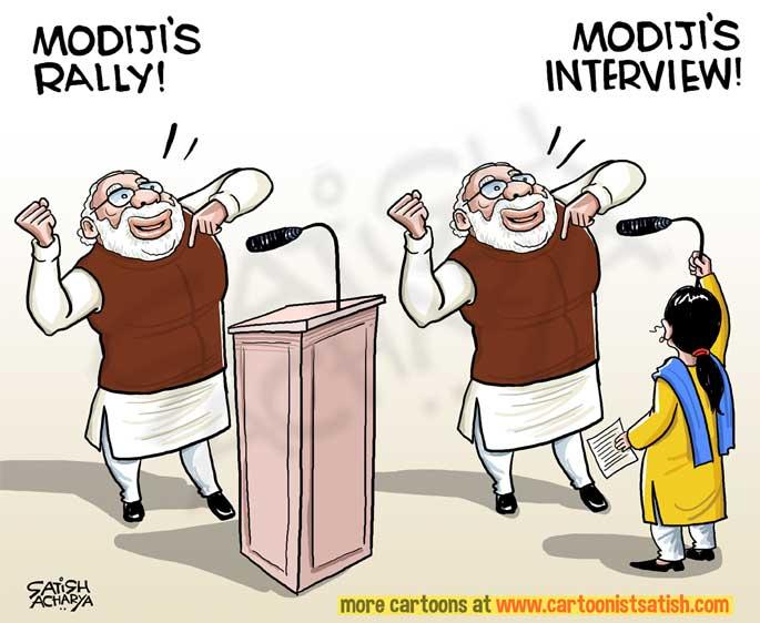 Prime Minister Modi's 'interview'! | CartoonistSatish Com