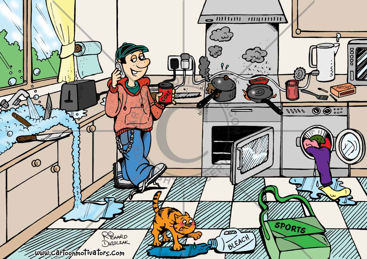 Cartoon Of Teenager On A Mobile Phone In A Kitchen
