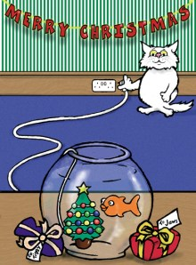Cat and goldfish Christmas cartoon