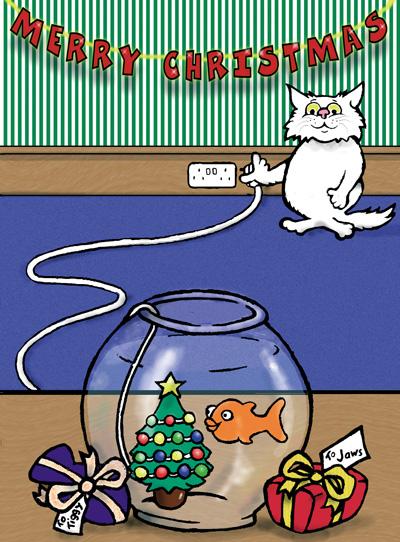 Cat and goldfish Christmas cartoon