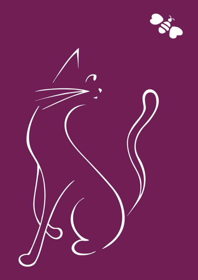 Cat and Bee illustration purple