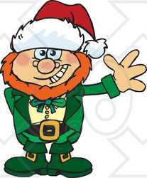 Clipart Of A Friendly Waving Leprechaun Wearing A