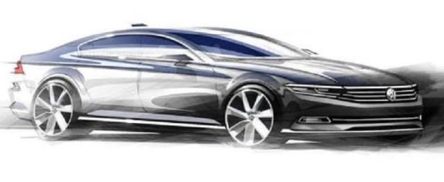 Official sketch of the 2015 Volkswagen Passat luxury sedan pic