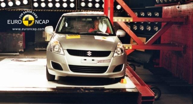 A Suzuki Swift in a Euro NCAP Side Impact Test