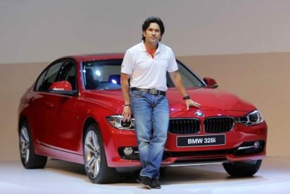 Sachin Tendulkar with the BMW 3-Series