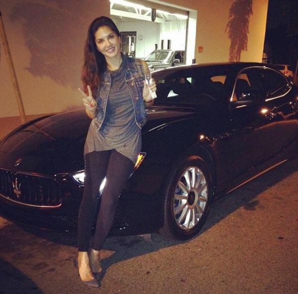 Sunny Leone with her Maserati Quattroporte