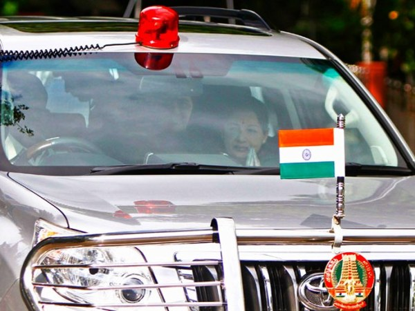 Jayalalithaa in the Toyota Land Cruiser Prado