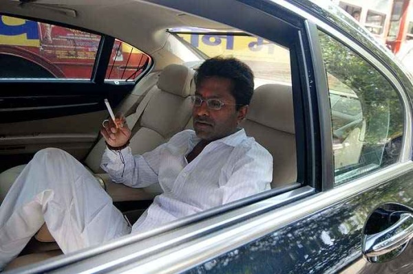 Lalit Modi in his BMW 7-Series luxury saloon 1