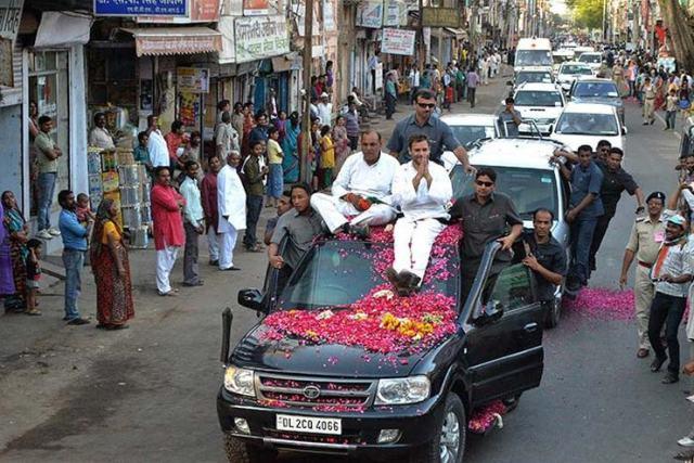 Rahul Gandhi in his Tata Safari