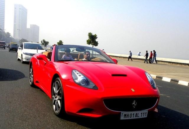 Ratan Tata in his Ferrari California