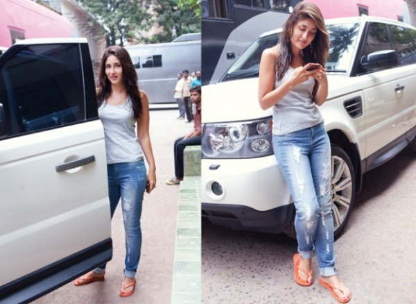 Kareena Kapoor with her Land Rover Vogue