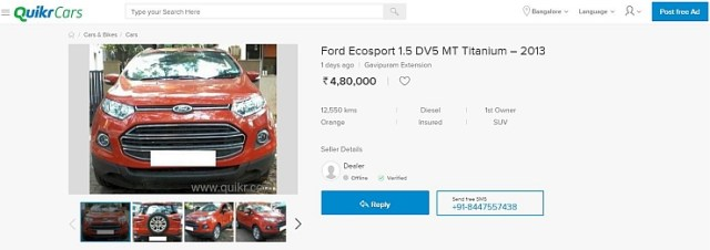 Ford Ecosport Deal on Quikr