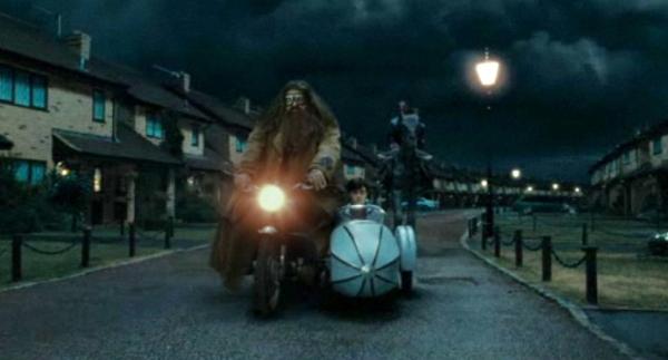 Hagrid on a Royal Enfield
