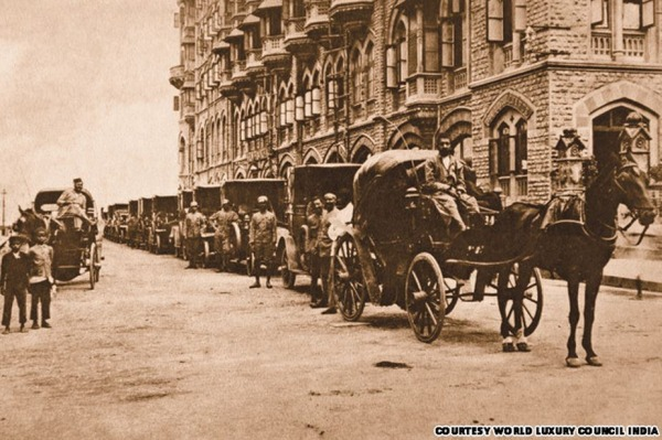 Horse Driven Carriages outside Bombay's Taj Mahal Palace Hotel