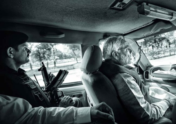 Narendra Modi in his Mahindra Scorpio