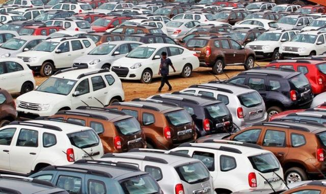 Renault cars in a stockyard