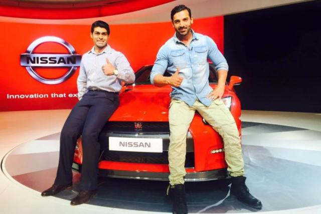 Karun Chandhok and John Abraham at the Nissan GT-R unveil