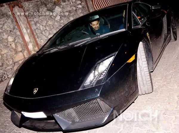 John Abraham with his Lamborghini Gallardo