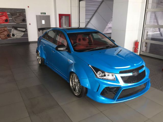 this modded chevrolet cruze with wide body is red hot. Black Bedroom Furniture Sets. Home Design Ideas