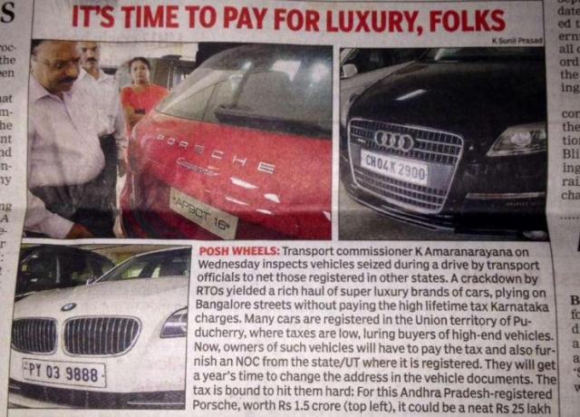 Luxury Car RTO Seized