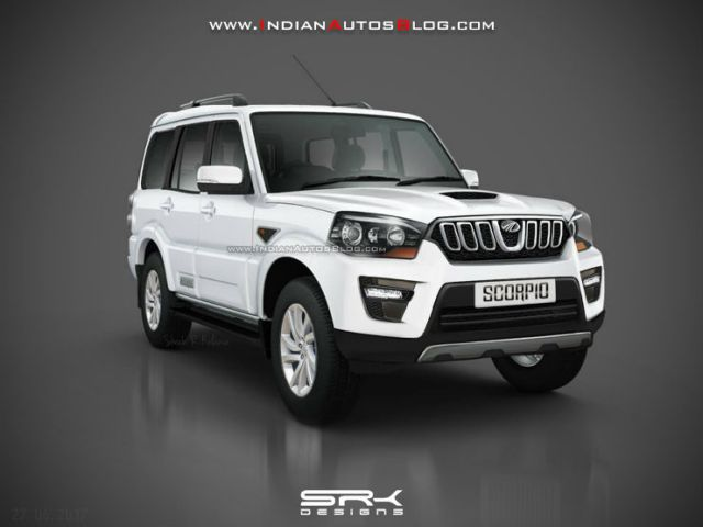 2017-Mahindra-Scorpio-facelift-front-quarter-Rendering
