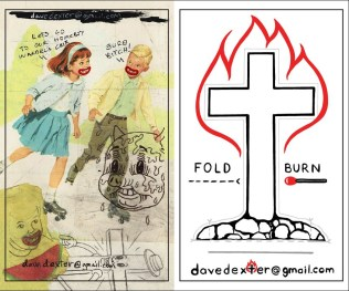 "Dave Dexter ""Cross Burning Kit"" (front & back shown - business card sized, comes with a ""real"" wooden match)"