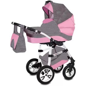 Carucior Flamingo Easy Drive Vessanti 3 in 1 gray pink