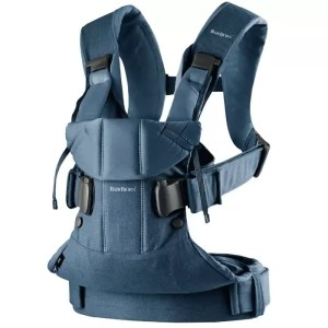 Marsupiu anatomic BabyBjorn One cu pozitii multiple de purtare Denim Midnight Blue Bumbac